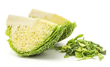 Two savoy cabbage quarters with chopped leaves stack isolated on white background fresh gree