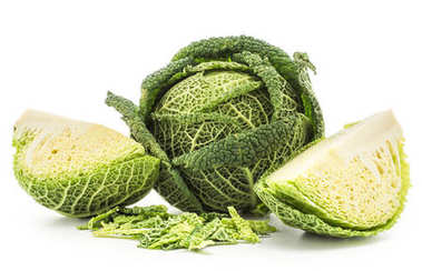 Savoy cabbage set one head and two quarters with chopped leaves stack isolated on white background fresh gree