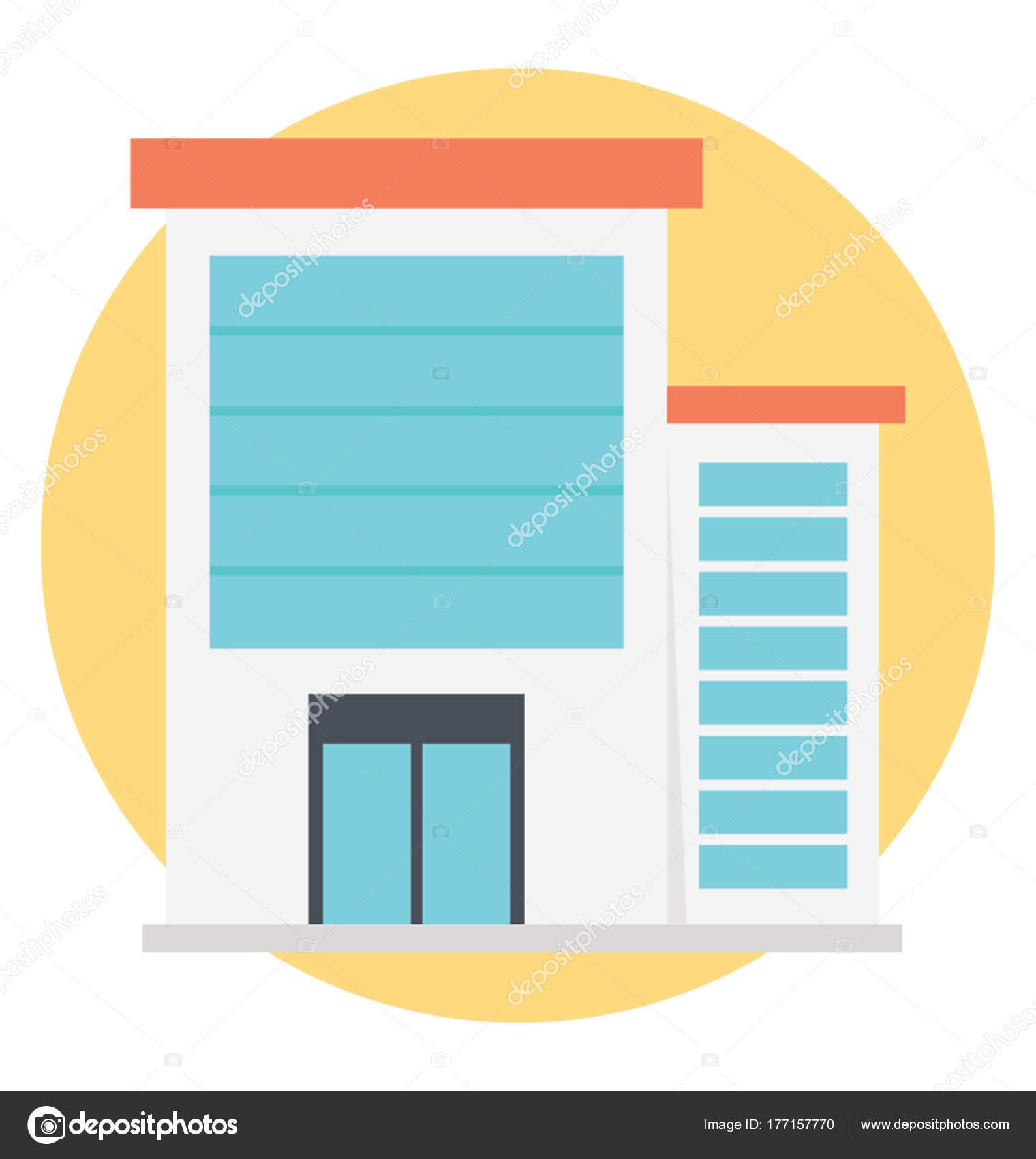 Office Building Icon Flat Vector Design Stock Vector Prosymbols