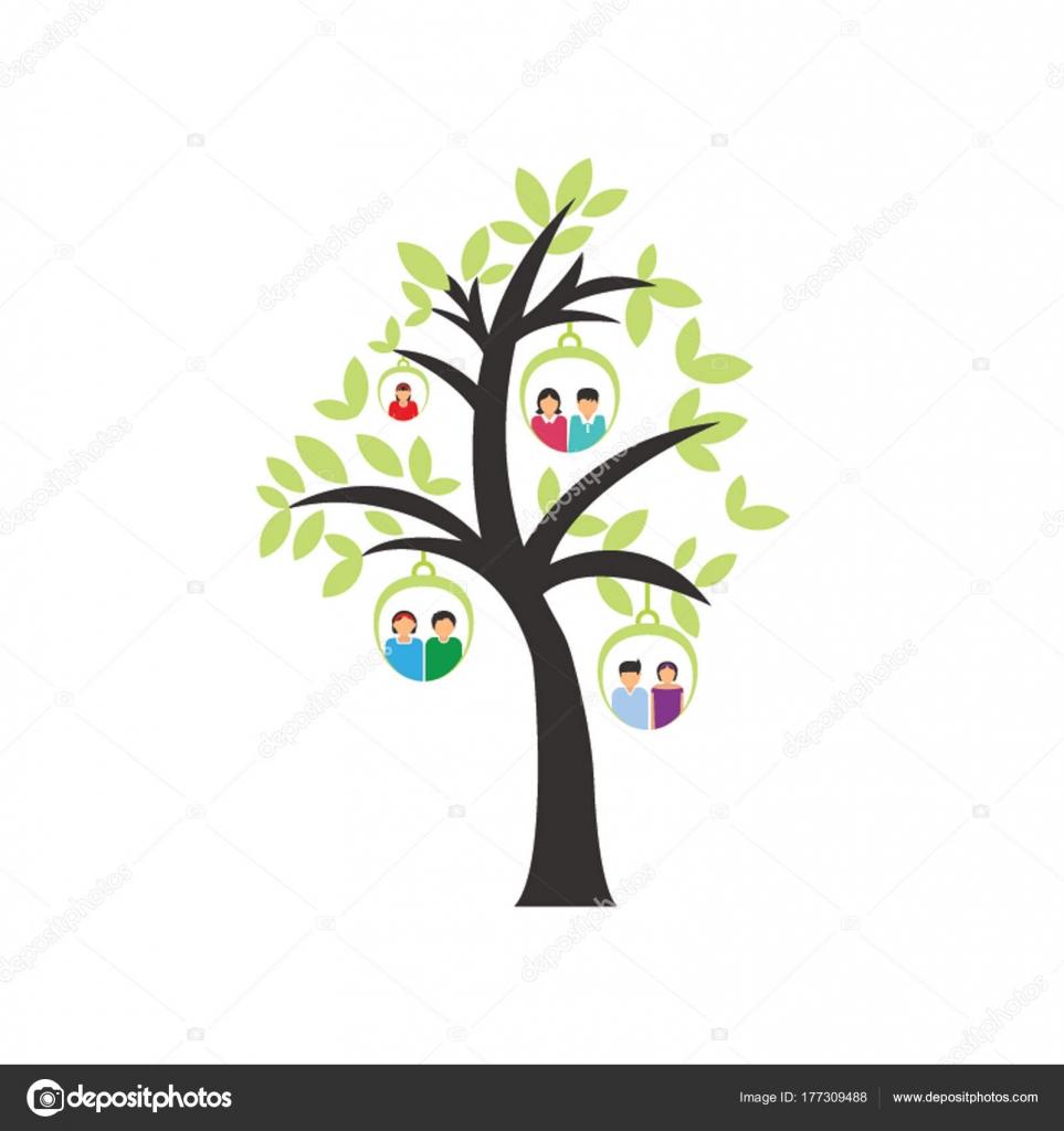 Soy Ağacı üzerine Aile üyeleri Resimlerle Vektör çizim Stok Vektör