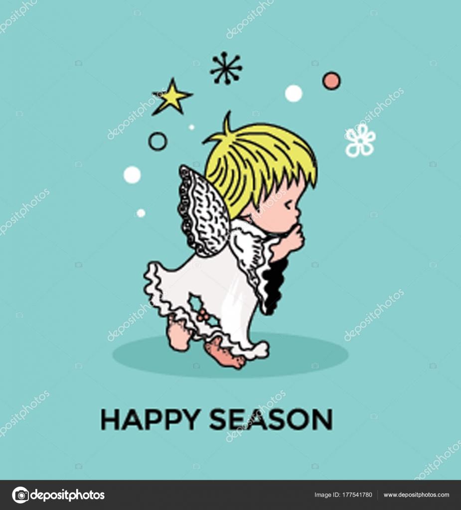Entzückende Kleine Animierte Weihnachts Engel Vektor Illustration ...