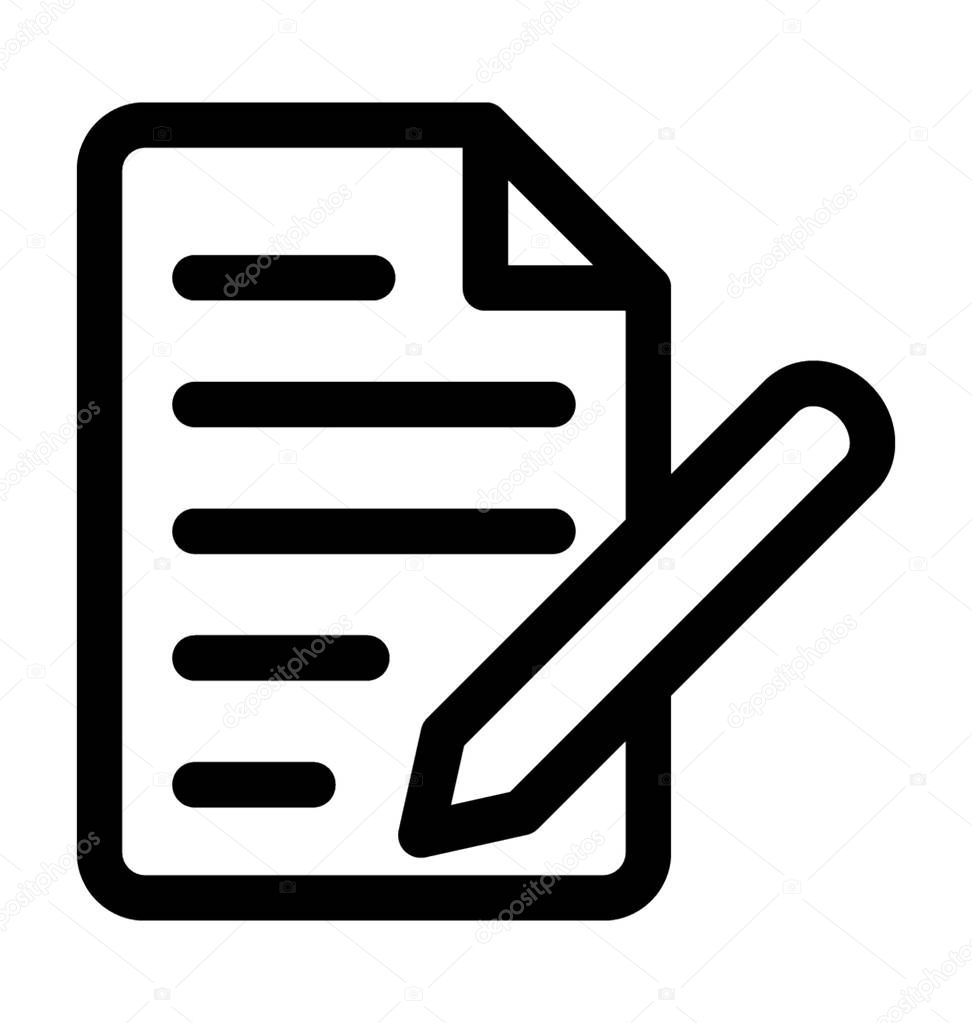 article writing line vector icon � stock vector