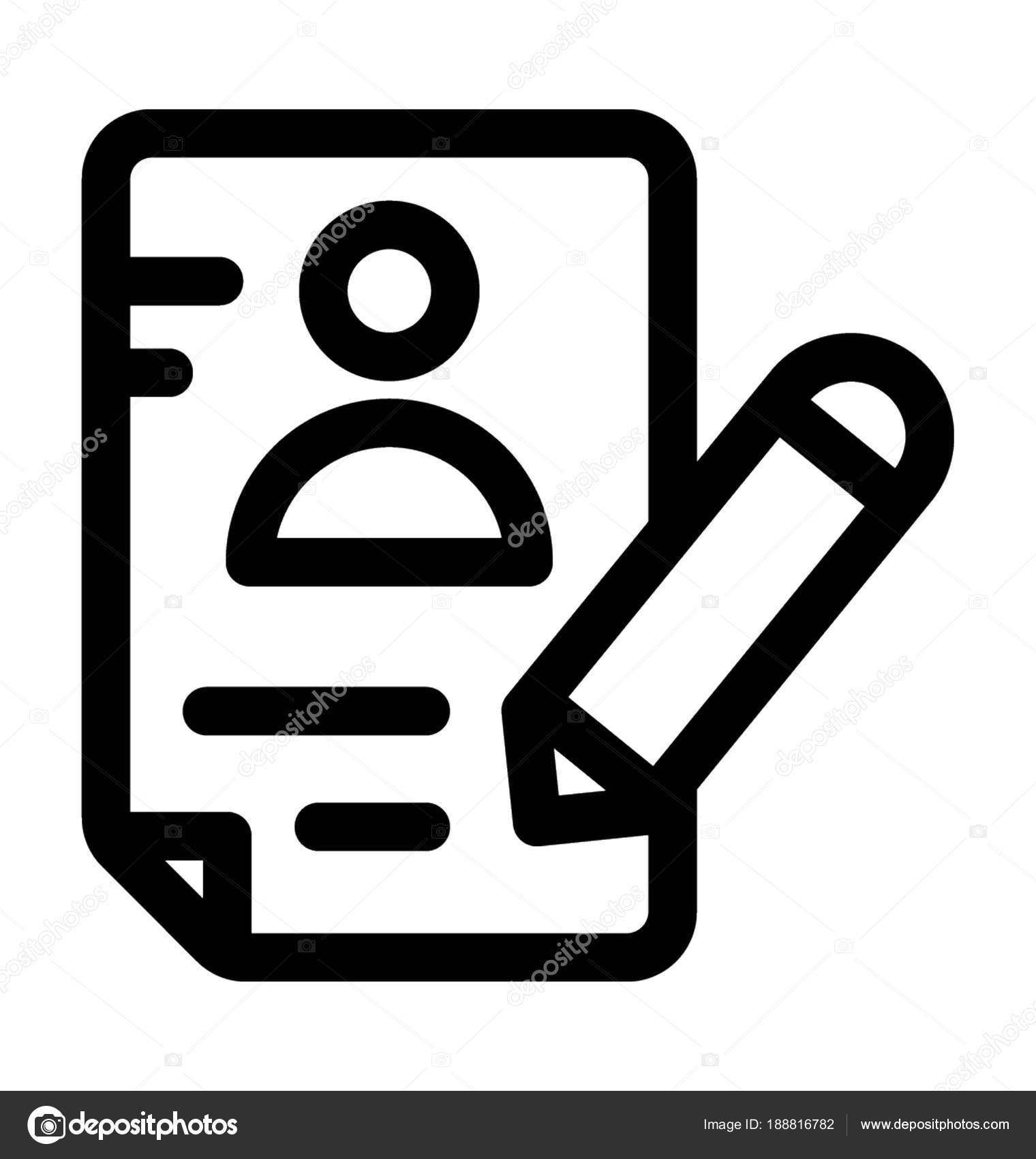 Reanudar Escritura Línea Vector Icono — Vector de stock © prosymbols ...