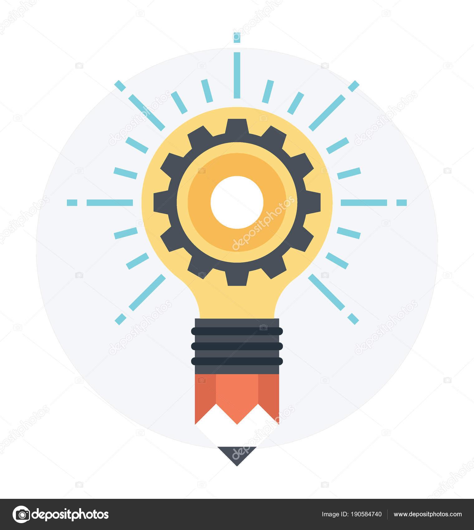 Bulb Pencil Bright Idea Process Concept Flat Icon Stock Vector