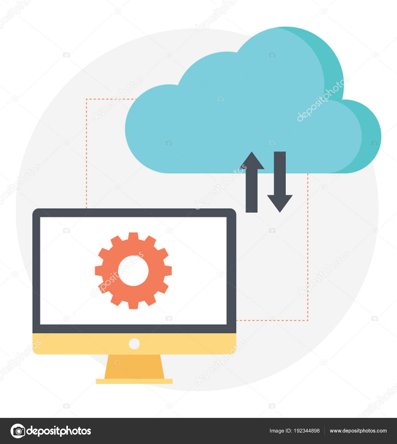 Cloud Data Transformation Flat Vector Icon — Stock Vector