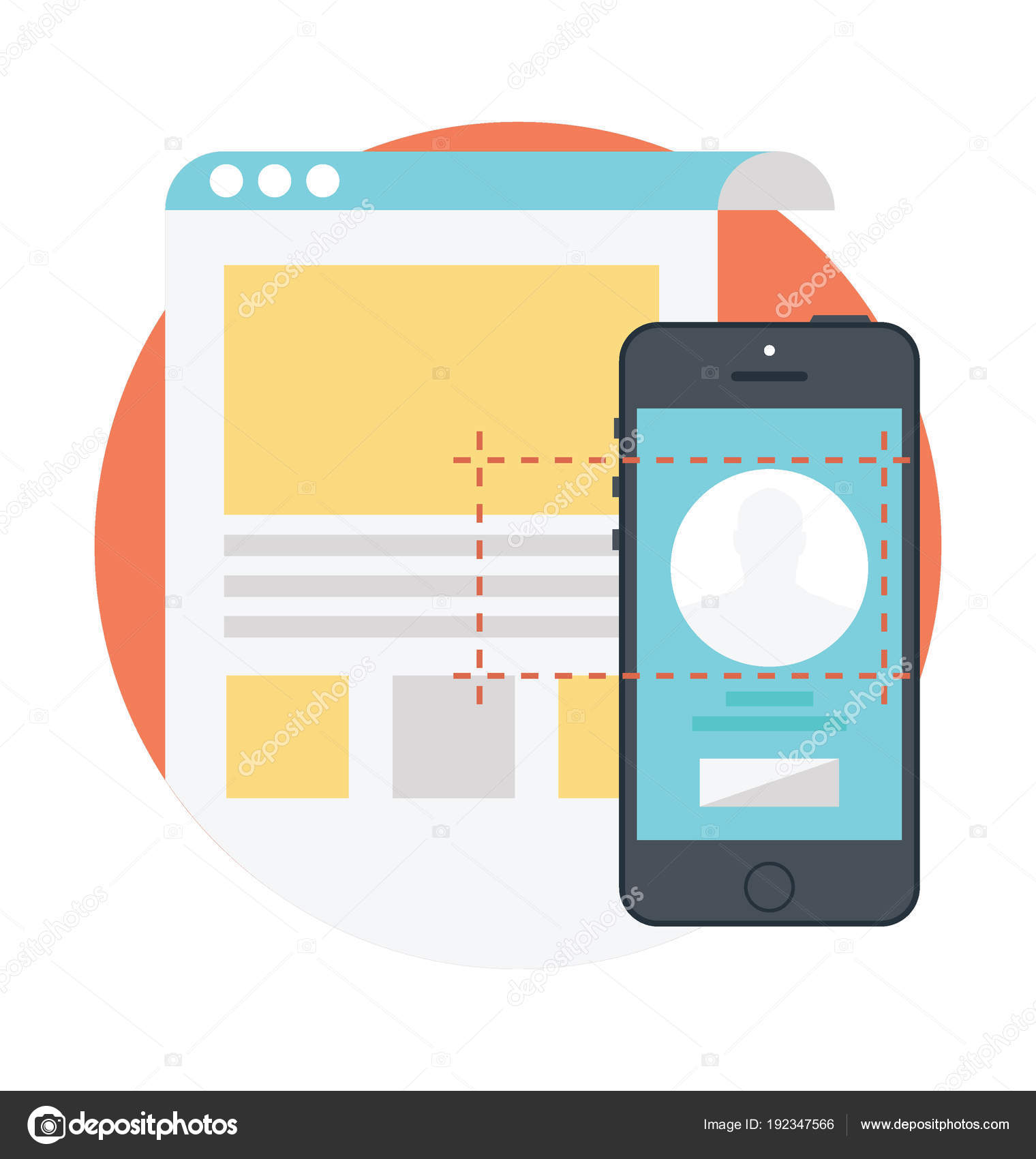 User Interface Design Mobile Layouts Flat Design Concept App Development Stock Vector C Prosymbols 192347566