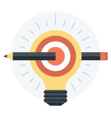 Light bulb with brain and pencil, idea concept, vector