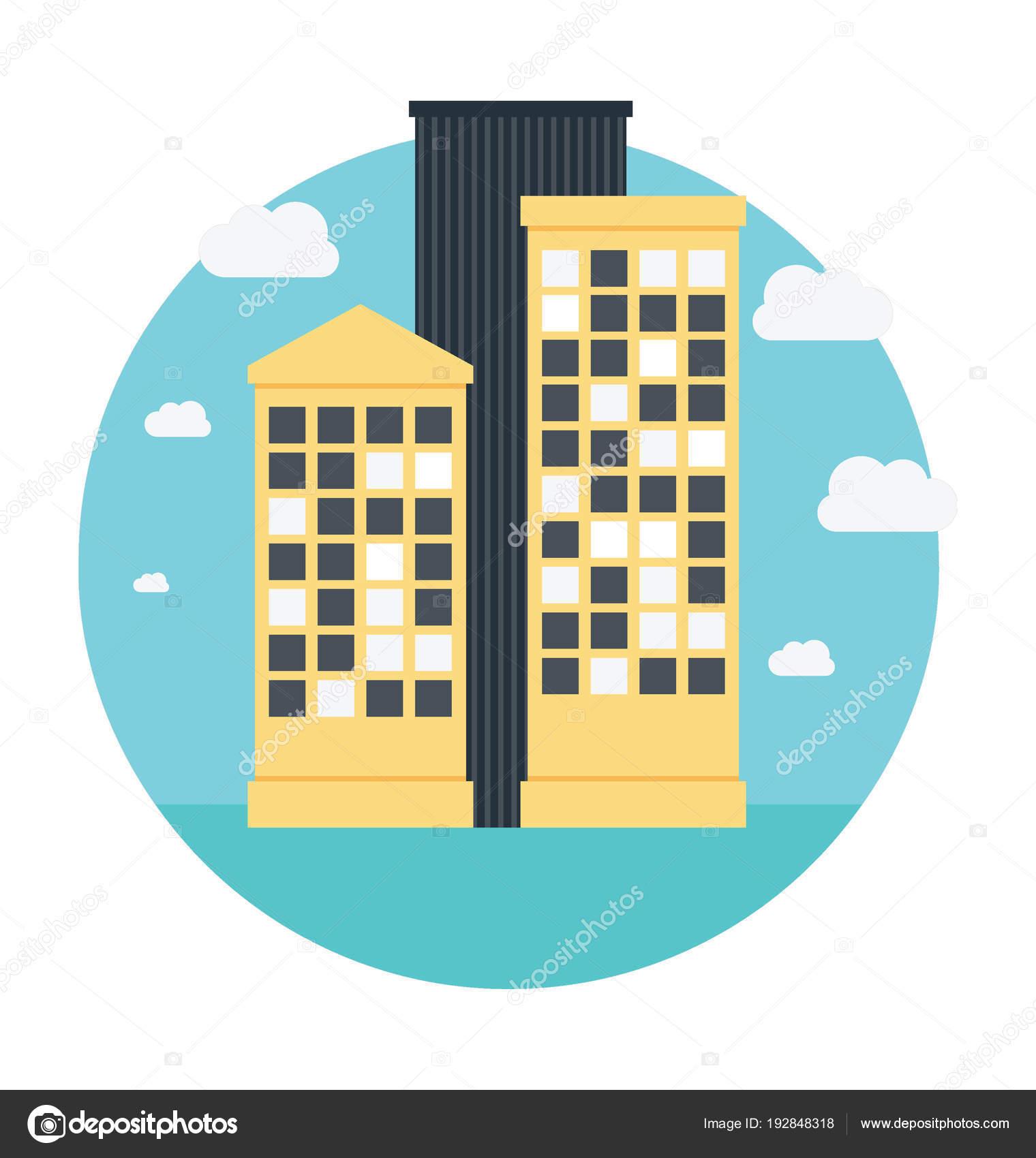 Office Building Flat Icon Design Stock Vector Prosymbols 192848318