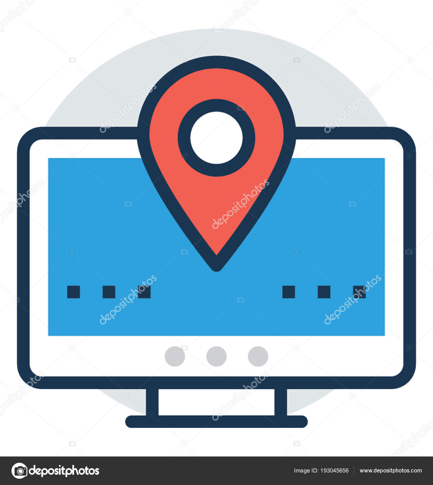 online gps tracker monitor screen stock vector prosymbols 193045656