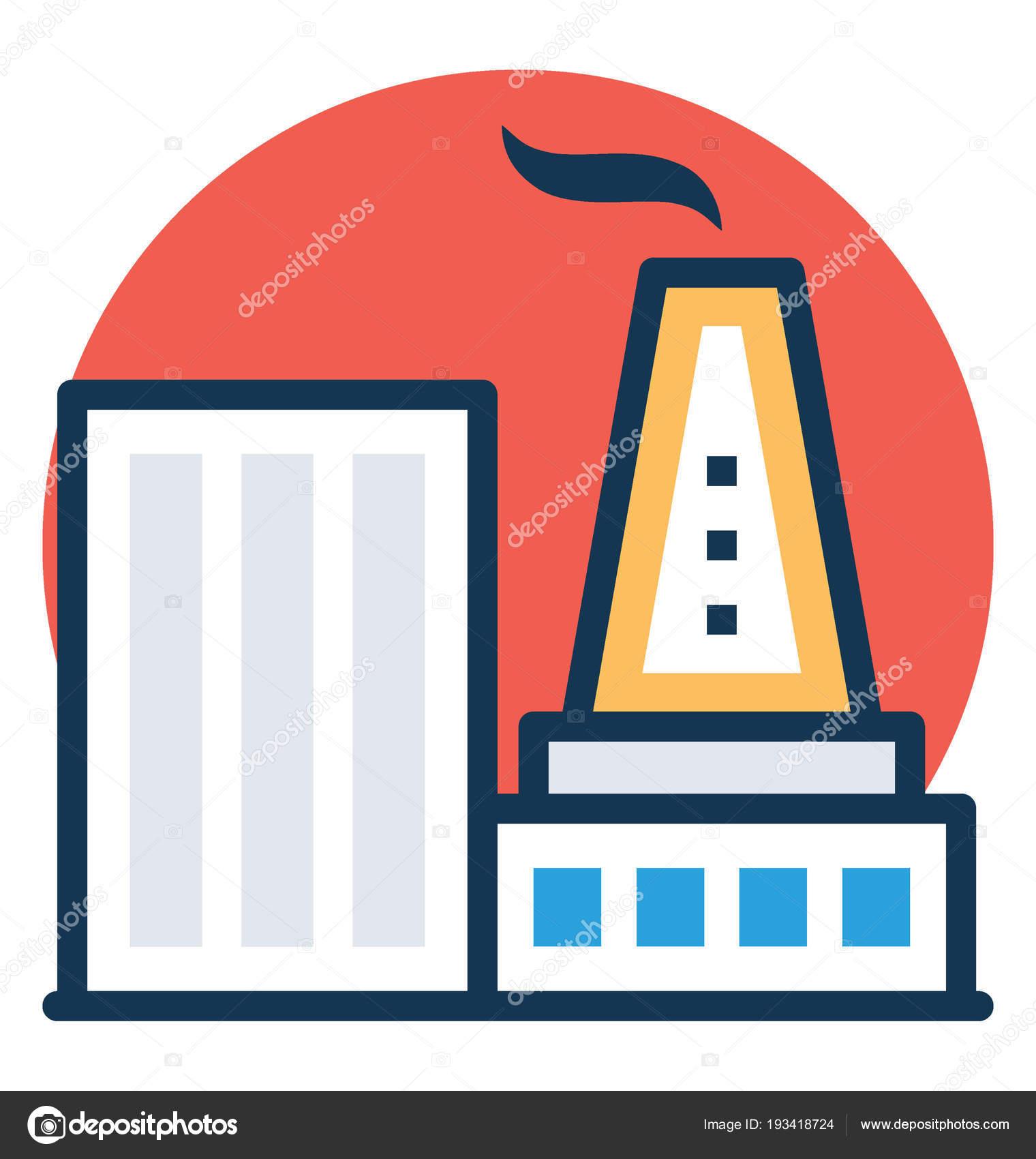 bauen mit schornstein ein industriegelände oder fabrik — stockvektor