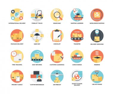 Flat Icons Set of Delivery and Shipping