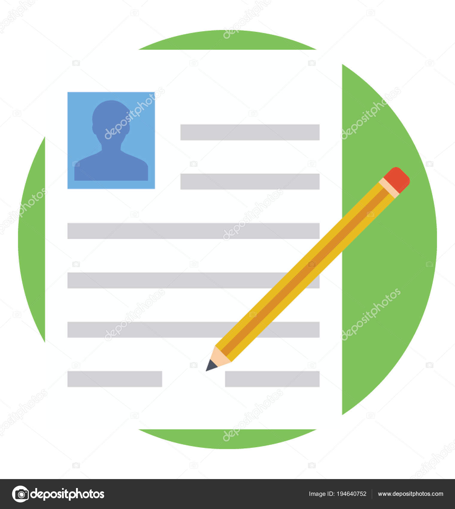 Icono Plano Hacer Curriculum Vitae Escribir Una Carta — Archivo ...