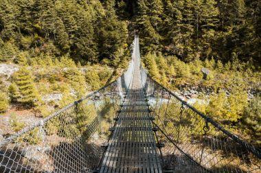 hanging bridge over mountain river