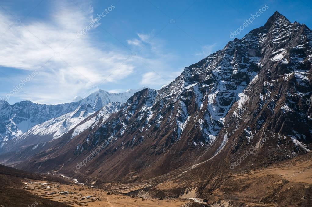 landscape with snowy mountains