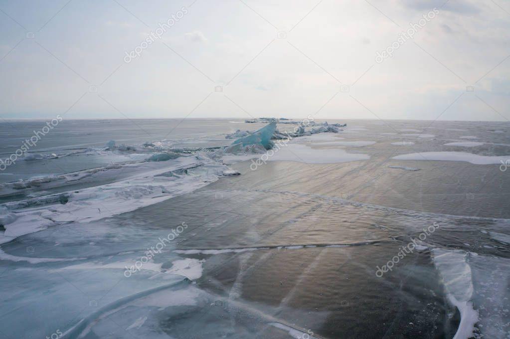 frozen sea and sunlight