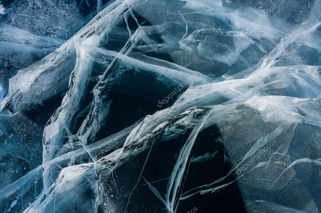 cracks of frozen water