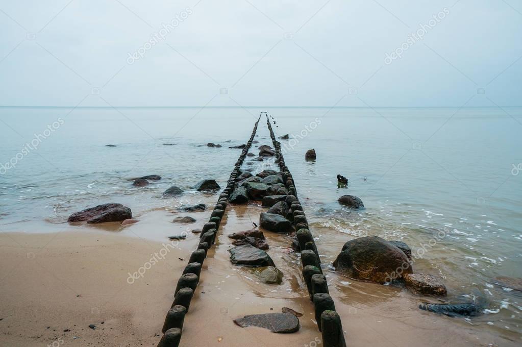 wooden pier pillars