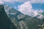 beautiful mountain landscape with majestic snow capped peaks in Indian Himalayas, Rohtang Pass