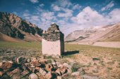 built structure from stones and beautiful landscape in Indian Himalayas