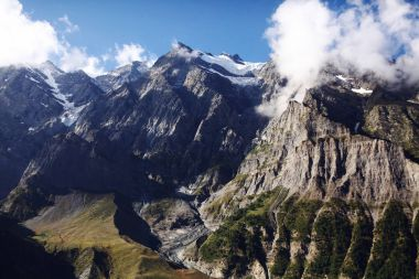 beautiful scenic landscape with majestic rocky mountains in indian himalayas, keylong region