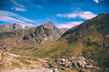 Beautiful rocky mountains in Indian Himalayas, Rohtang Pass stock vector