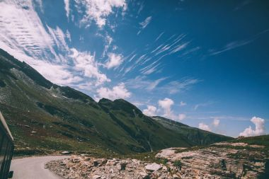 beautiful scenic mountain landscape and road with vehicle in Indian Himalayas, Rohtang Pass