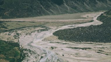 beautiful mountain river in scenic valley in Indian Himalayas, Ladakh region