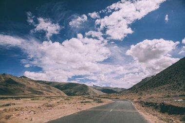 empty asphalt mountain road in Indian Himalayas, Ladakh region