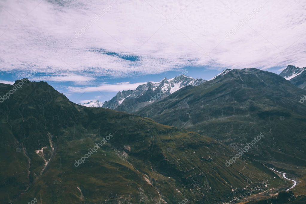 majestic scenic mountain landscape in Indian Himalayas, Rohtang Pass