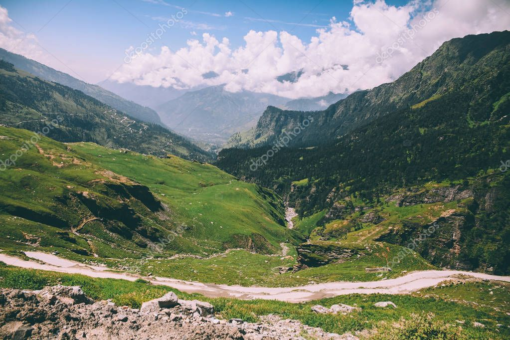 beautiful scenic landscape with mountain valley and pathway in Indian Himalayas, Rohtang Pass
