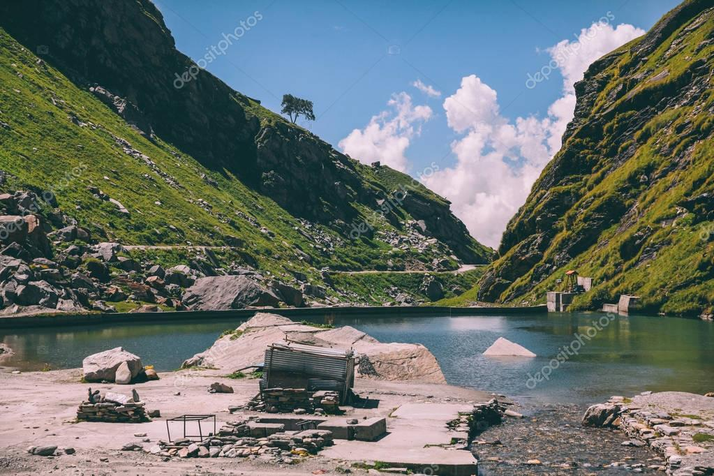scenic mountain landscape with lake in Indian Himalayas, Rohtang Pass