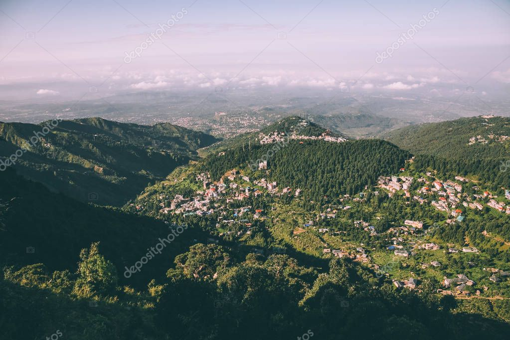 beautiful scenic landscape with mountain village in Indian Himalayas, Dharamsala, Baksu