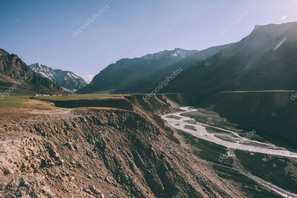 beautiful mountain valley with river in Indian Himalayas, Ladakh region