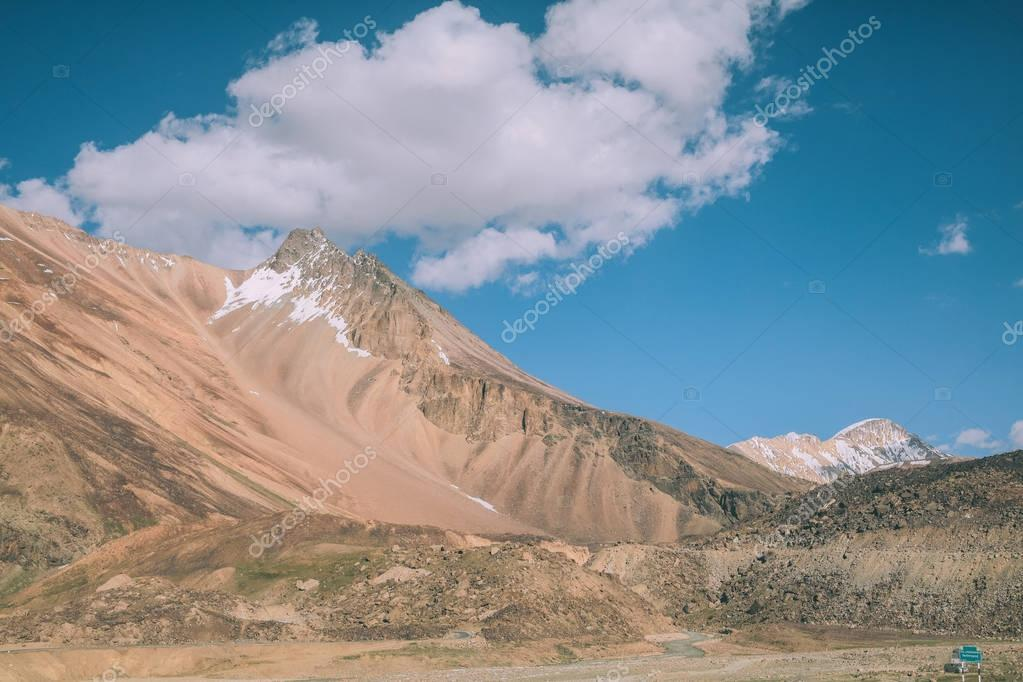beautiful mountain landscape and blue sky with clouds in Indian Himalayas, Ladakh region
