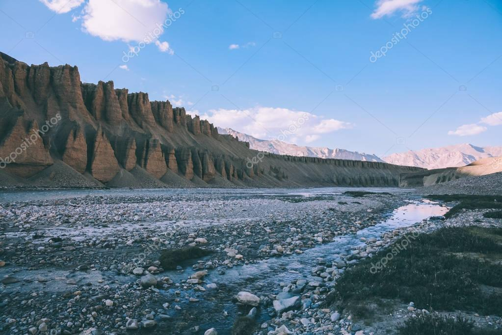 beautiful natural formations and rocky mountain river in Indian Himalayas, Ladakh region