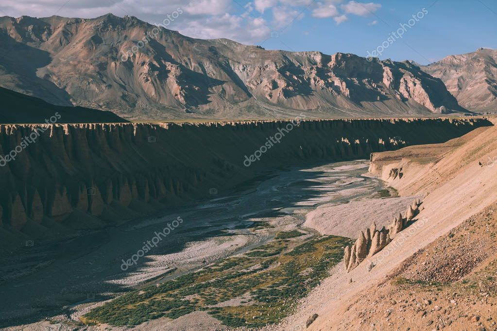beautiful natural formations and mountain river in Indian Himalayas, Ladakh region