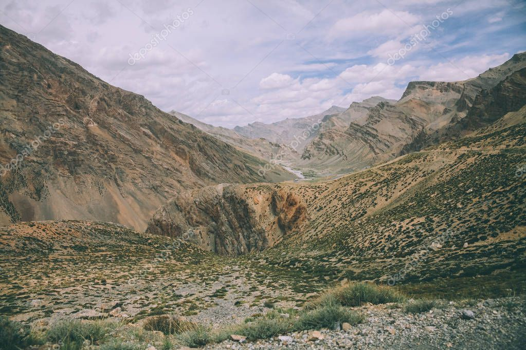 beautiful scenic rocky landscape in Indian Himalayas, Ladakh region