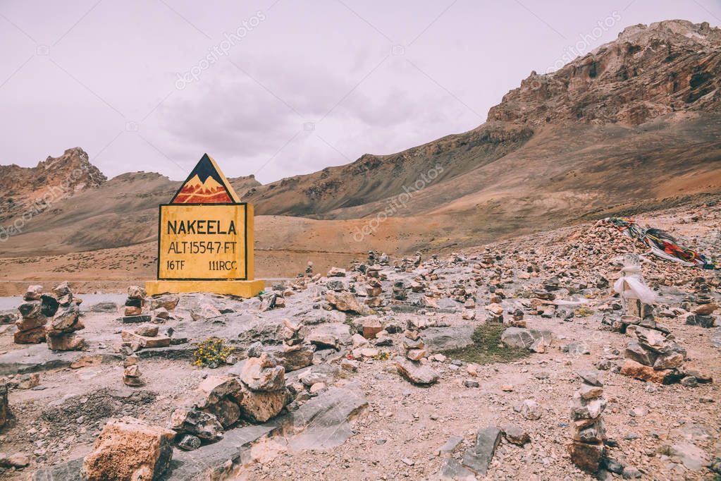 nakeela sign and rocks in mountain valley in Indian Himalayas, Ladakh region