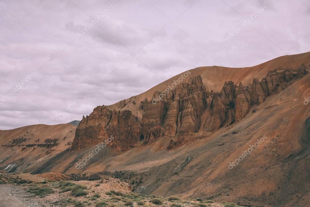 rocks and majestic mountain landscape in indian Himalayas, Ladakh region
