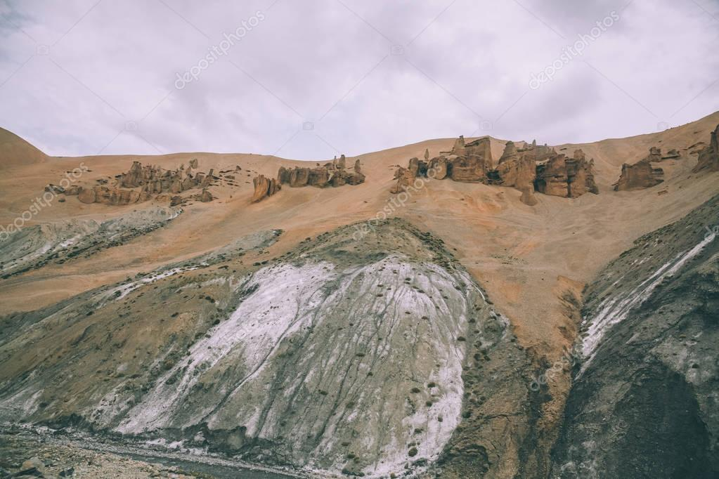 rocks and scenic mountain landscape in indian Himalayas, Ladakh region