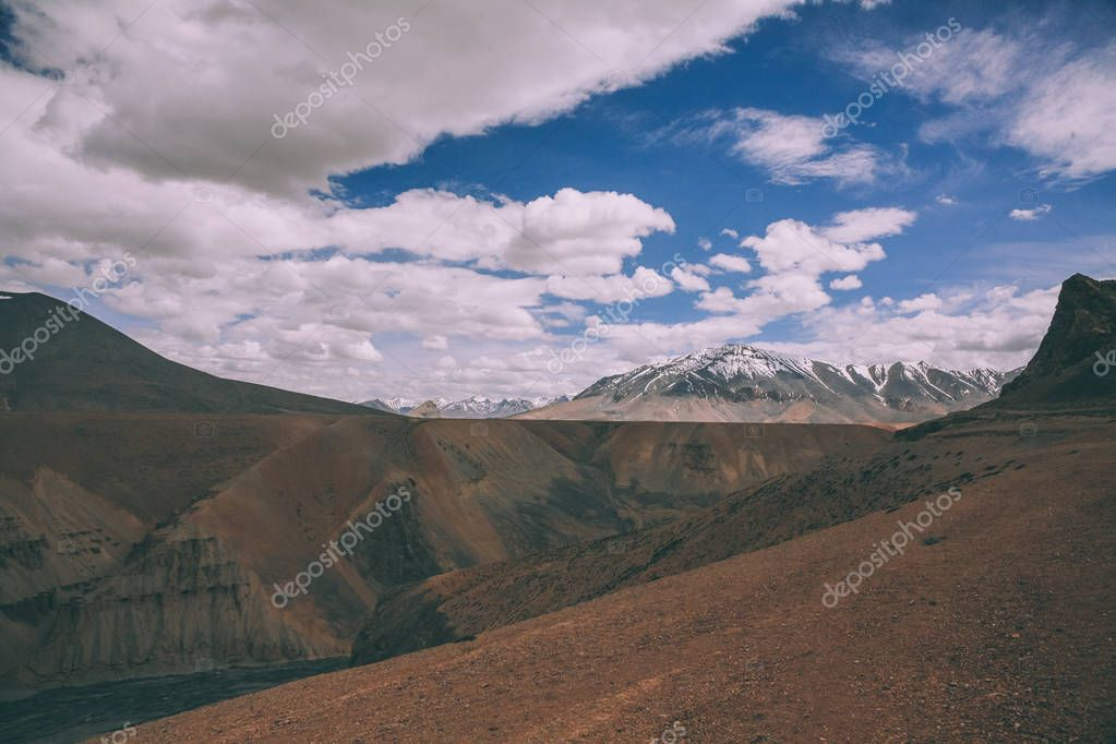 beautiful mountain landscape and cloudy sky in Indian Himalayas, Ladakh region