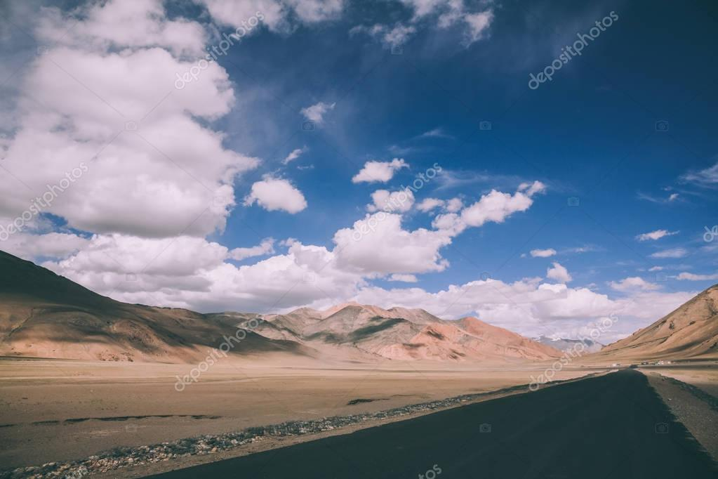 empty asphalt road in mountain valley in Indian Himalayas, Ladakh region