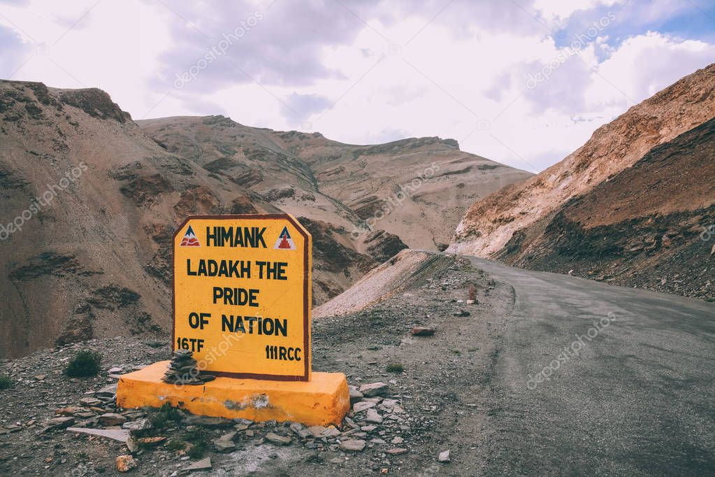 close-up view of sign on mountain road in Indian Himalayas, Ladakh region