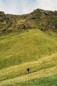 Fotografie pohled z vysokého úhlu osoby chůze na chodníku a krásnou krajinu Islandu