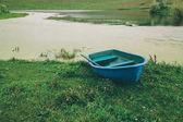 blue boat on green grass near beautiful river in Altai, Russia