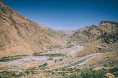 majestic landscape with mountain road in Indian Himalayas, Ladakh region