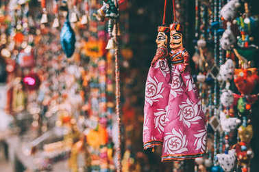close-up view of colorful decorations hanging at Rajasthan, Pushkar