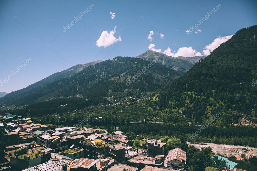 beautiful green mountains and village in indian himalayas, Manali
