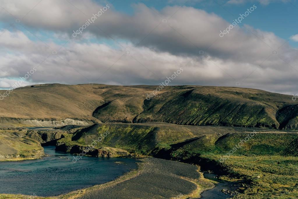 beautiful scenic landscape with majestic river in Iceland