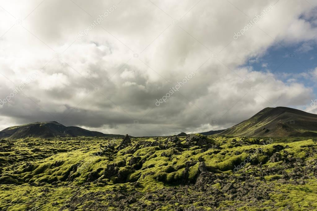majestic landscape with mountains, moss and cloudy sky in Iceland